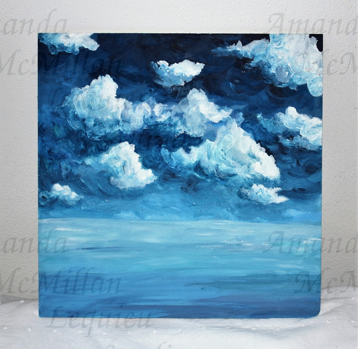 """Cloud by cloud, acrylic on canvas board, 12X12""""; SOLD"""