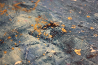 "Close up - How high the depths, acrylic and tissue paper on foam board, 12x12""; $20"