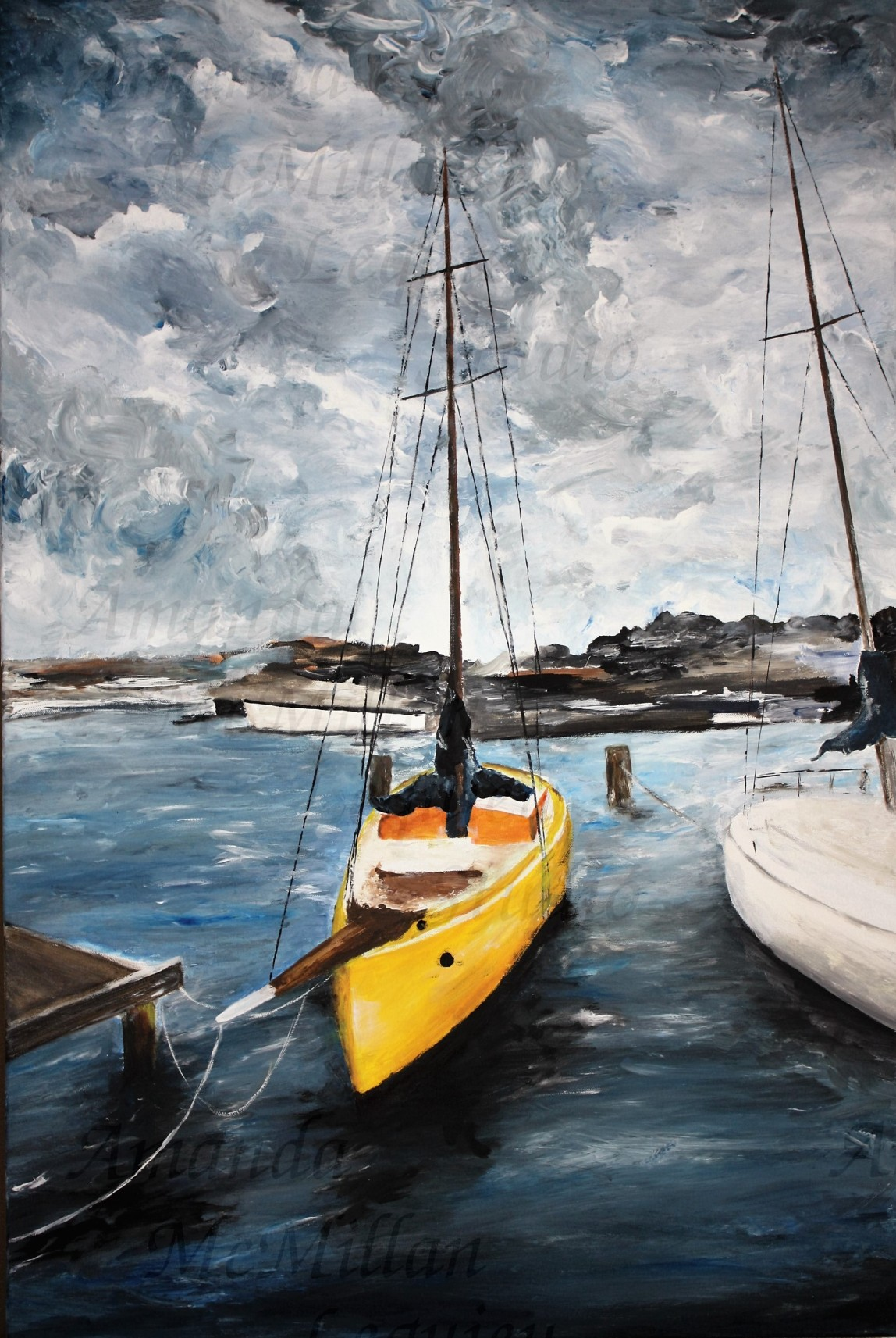 """Safe harbor"": Original acrylic on stretched canvas, 36x24 inches; $300"