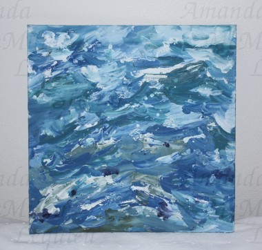 "Studies on the deep 3: acrylic on canvas board, 12X12""; $30"