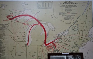 Iron commodity chain showing linkages between northern Wisconsin and Chicago, via the Great Lakes.